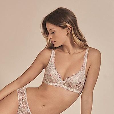 黛安芬-自然美型系列 透氣包覆 D-E罩杯內衣 白色印花