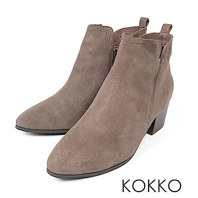 KOKKO-流浪玫瑰率性真皮粗高跟短靴-暖灰