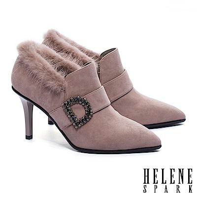 裸靴 HELENE SPARK 奢華白鑽釦飾羊麂皮美型尖頭踝靴-可可