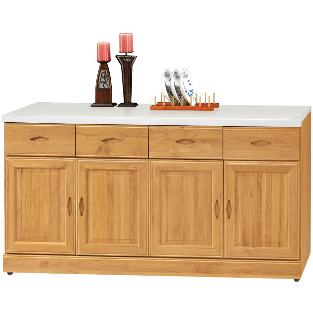 綠活居 艾戈利時尚5.3尺雲紋石面實木餐櫃/收納櫃-160x42x81.5cm免組