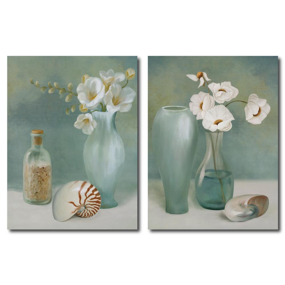 24mama掛畫-兩聯式直幅 掛畫無框畫-貝殼與花-30x40cm