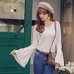 東京著衣-yoco 歐逆最愛質感直坑條喇叭袖修身上衣-S.M.L(共二色)
