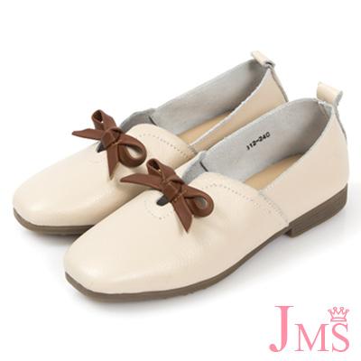 JMS-舒適簡約蝴蝶結牛皮平底休閒鞋-杏色