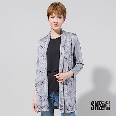 SNS 水彩式暈染星星圖騰長版罩衫(<b>2</b>色)