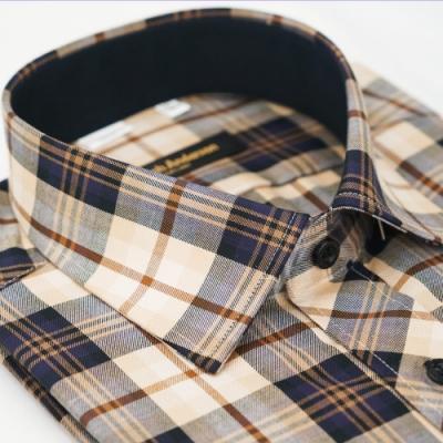 【金安德森】經典格紋黑領座窄版長袖襯衫fast