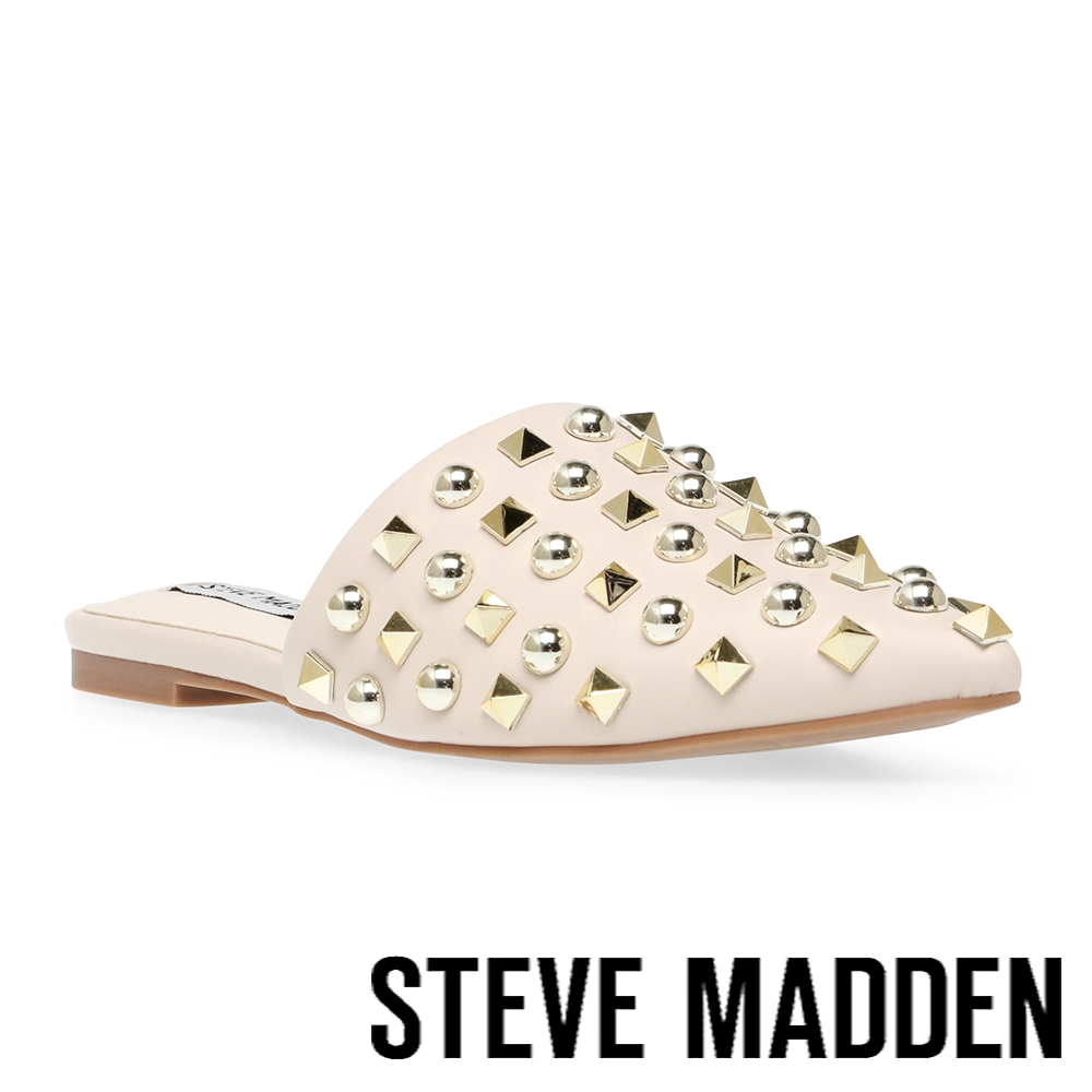 STEVE MADDEN-FAREWAY 尖頭鉚釘穆勒拖鞋-米杏色