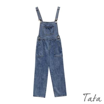胸前大口袋牛仔吊帶褲 TATA-F