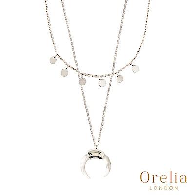 Orelia 英國倫敦 MINI COIN & HORN 白色牛角層次鍍銀項鍊