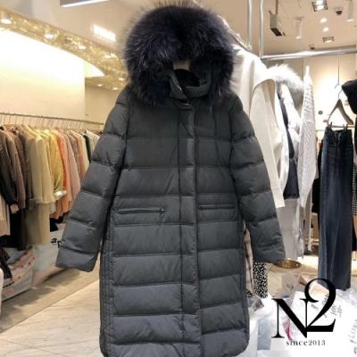 外套 正韓可拆式毛帽側開衩長版羽絨外套(黑)N2