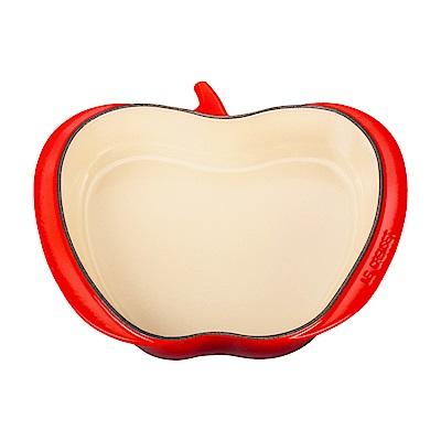 LE CREUSET 琺瑯鑄鐵蘋果造型烤盤-櫻桃紅