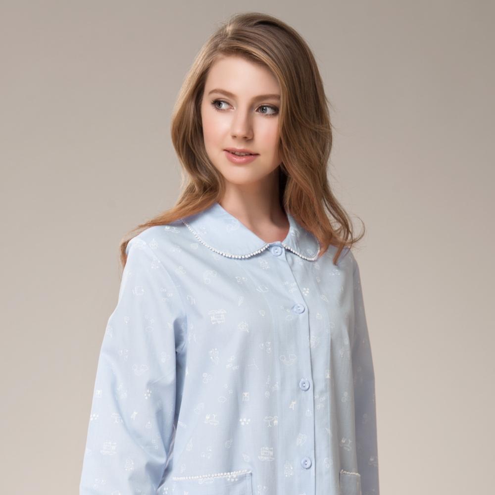 La Felino - 午茶有約長袖洋裝睡衣 - 天空藍