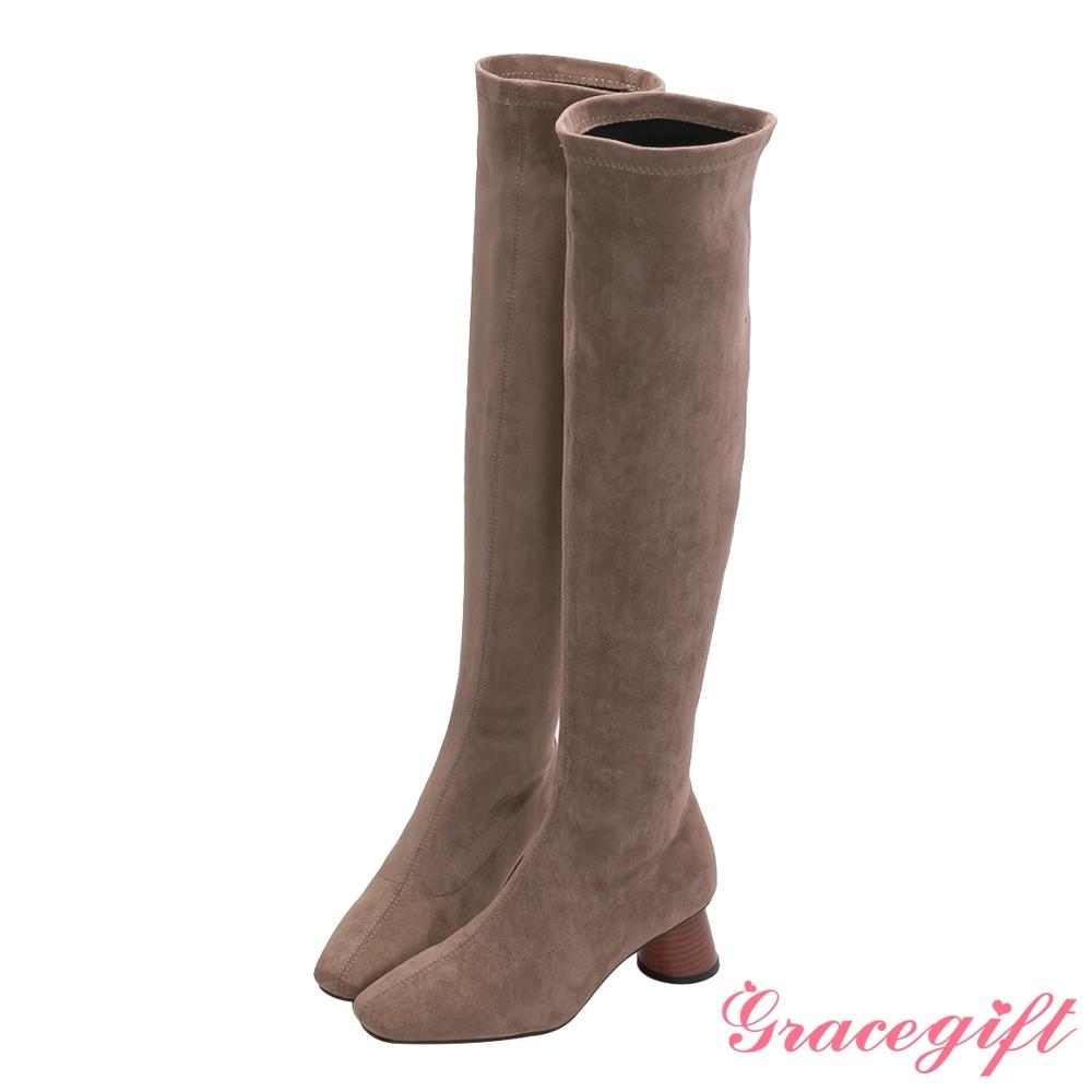 Grace gift-素面絨布木紋中跟長靴 駝