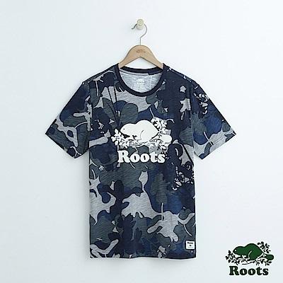 男裝Roots 迷彩短袖T恤-藍