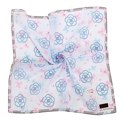CLATHAS經典滿版山茶花純棉帕巾-水藍色