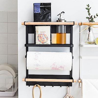 【AJ雜貨】日式和風磁吸冰箱收納架 側邊收納 紙巾架 掛勾 置物架