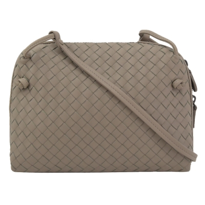 BOTTEGA VENETA 手工編織羊皮拉鍊方型斜背包(鴿子灰)