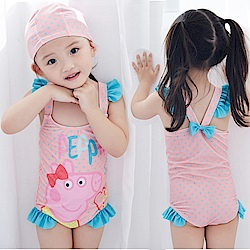 小衣衫童裝  可愛粉色小豬連體泳衣1060509