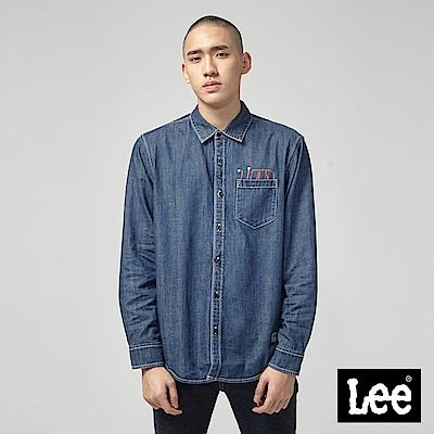 Lee 牛仔長袖襯衫/UR中深藍色洗水