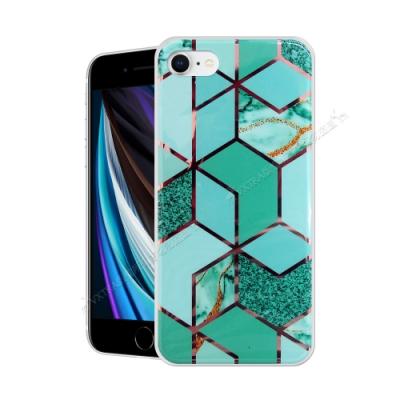 VXTRA 燙金拼接 iPhone SE 2020/SE2 大理石幾何手機殼 保護殼(翡翠綠)