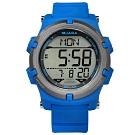JAGA 捷卡 電子運動 倒數計時 計時碼錶 鬧鈴 日常生活防水 橡膠手錶-藍色/47mm