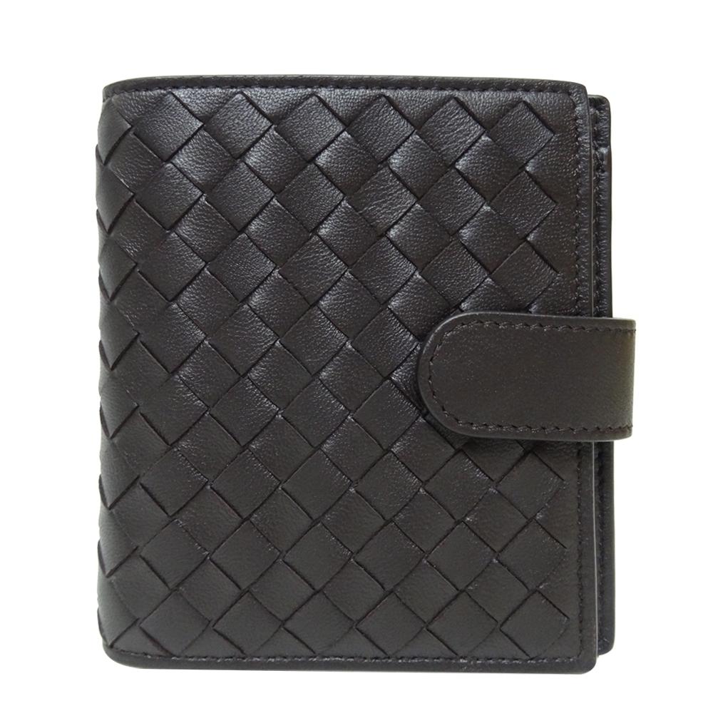 BOTTEGA VENETA 編織羊皮八卡扣式短夾(咖啡色)