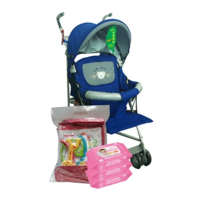 IAN BABY 823全罩背帶六段平躺推車(藍)/台灣製+貝比Q手口專用柔濕巾30抽<b>3</b>包 贈 費雪大禮包