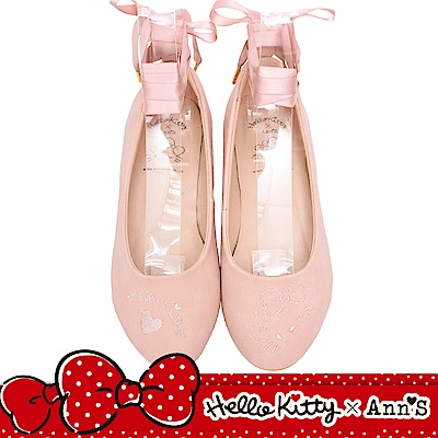 HELLO KITTY X Ann'S毛茸茸2WAY緞帶芭蕾舞平底鞋-粉