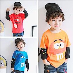 小衣衫童裝   男童可愛印花假2件長袖T恤1061002