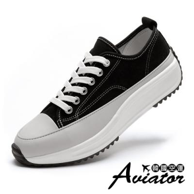 Aviator韓國空運-簡約多層水鑽金屬厚底休閒鞋-紙飛機預