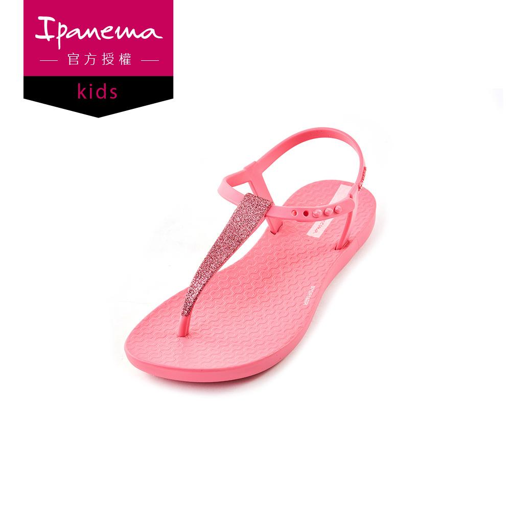 IPANEMA CHARM系列 亮粉T字涼鞋(兒童款)-桃紅