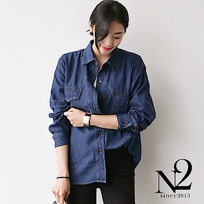 襯衫 復古口袋設計長袖牛仔襯衫(深藍) N2
