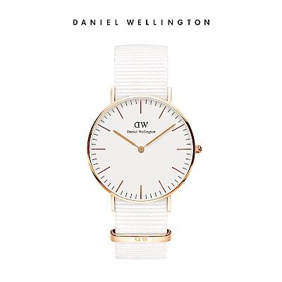 DW 手錶 官方旗艦店 36mm玫瑰金框 Classic 純淨白織紋手錶