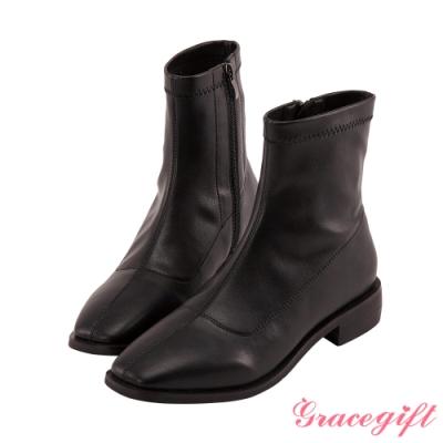 Grace gift-木紋方頭車線短靴 黑