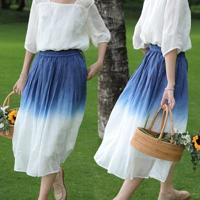 手工環保染100支苧麻A字中長版裙子有襯-設計所在
