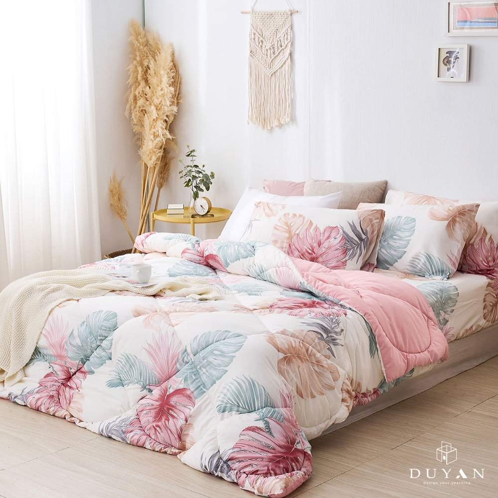 DUYAN竹漾-雙人加大床包組+可水洗羽絲絨被-淺暮染夏