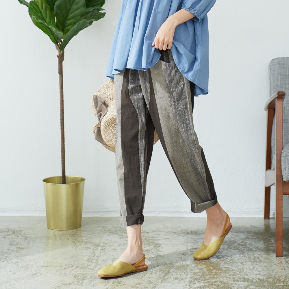 慢 生活 文藝色織休閒蘿蔔褲- 綠