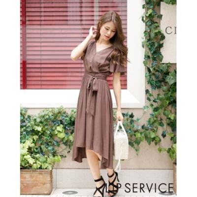 LIP SERVICE 簡約V領綁帶長洋裝(2色)