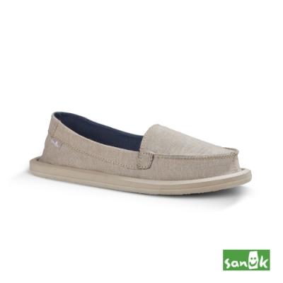 SANUK 女款US7 素面帆布娃娃鞋(米色)