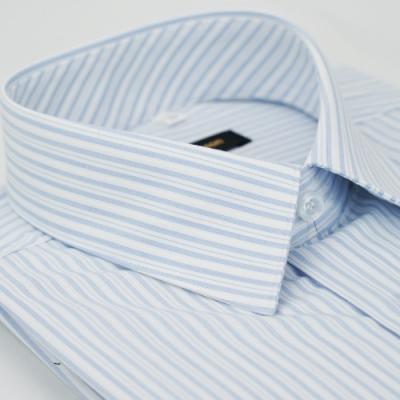 【金安德森】藍色條紋領口斜裁窄版短袖襯衫fast