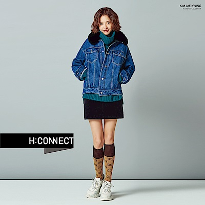 H:CONNECT 韓國品牌 女裝-側開岔翻領針織毛衣-綠