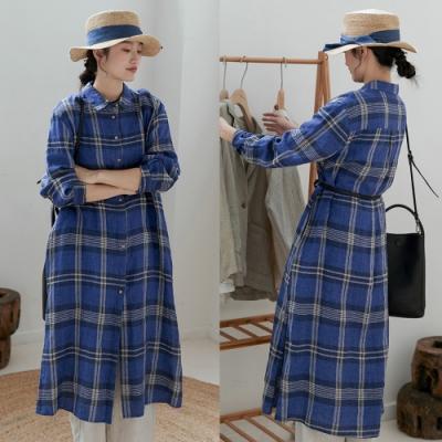 色織細亞麻大格子襯衫裙長版洋裝-設計所在