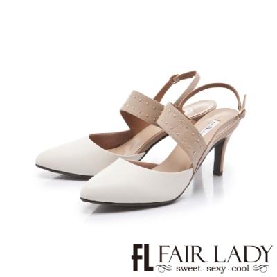 FAIR LADY 優雅小姐 尖頭繞帶圓口後拉帶細高跟鞋 白