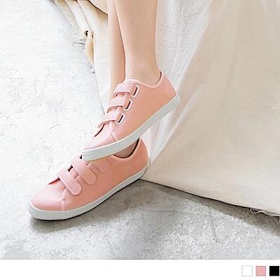 台灣製造~純色仿皮革魔鬼氈休閒鞋.3色-OB大尺碼