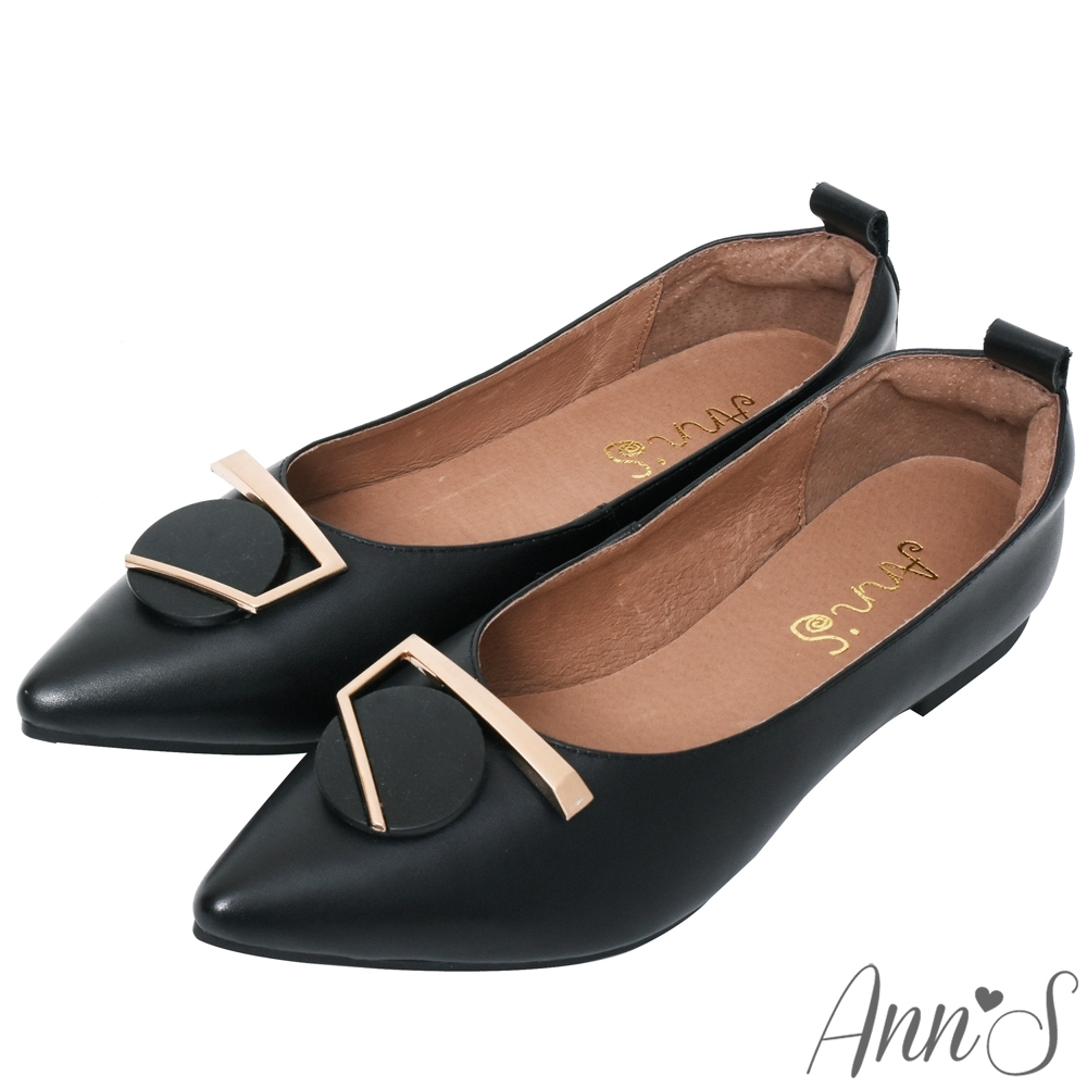 Ann'S訂製金屬圓扣全真皮尖頭平底包鞋-黑