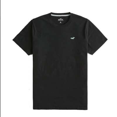 Hollister HCO 海鷗LOGO 藍色刺繡 黑色 圓領 素面短T(男/黑色-XL)