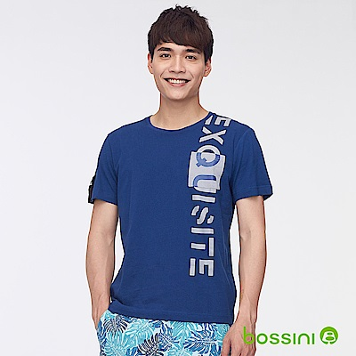 bossini男裝-圓領短袖字母上衣02海軍藍