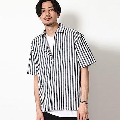 ZIP日本男裝 棉麻面料半拉鍊短袖襯衫素色(10色)