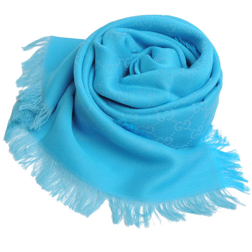 GUCCI SL GG LOGO 高質感棉質造型正方形圍巾(418222/水藍系)GUCCI