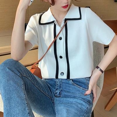 2F韓衣-簡約撞色邊條立領短袖造型上衣-3色-(F)