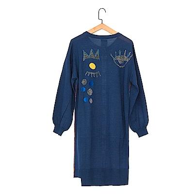gozo 派對女王亮蔥羊毛長版針織外套(深藍)